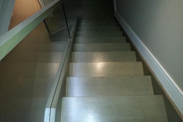Refinishing stairs, install glass railing, custom stain