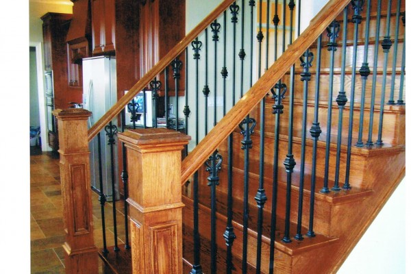Refinishing stairs, custom stain, metal spindles