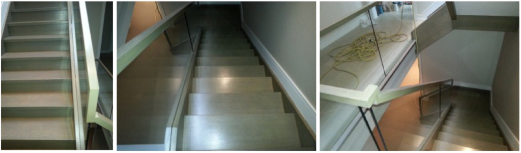 custom hardwood stain, custom stairs, stair glass railing