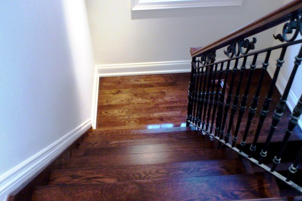 Installation steps, custom stain, and metal spindles