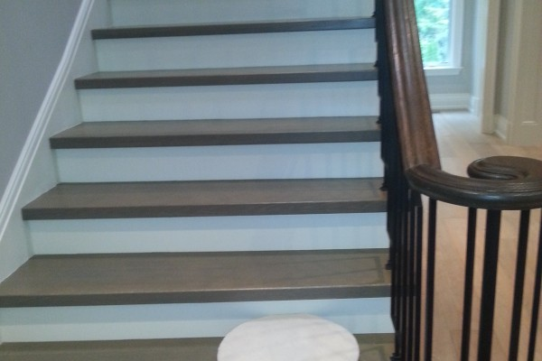 Installation stairs, white risers, metal spindles