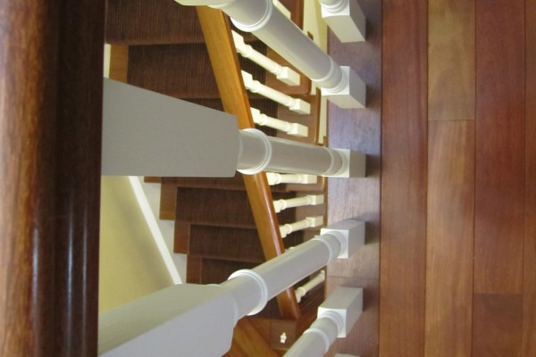 custom nosing, railing, white spindles