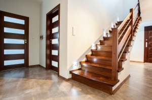 Luxury hallway with wooden stairs to bedroom on the floor